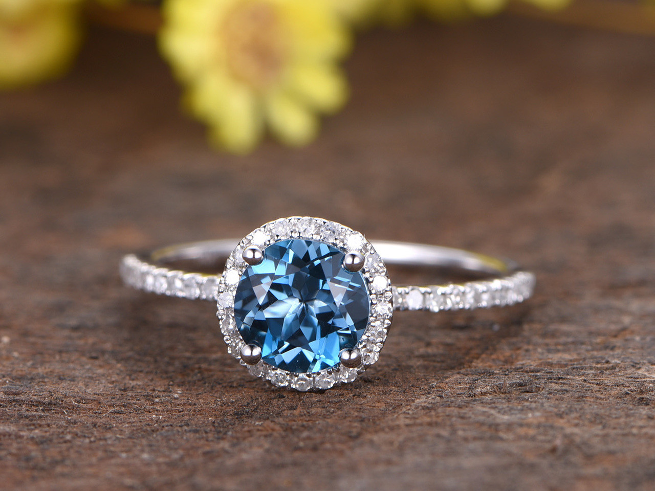 1.2 Carat London Blue Topaz Engagement Ring With Diamond 14k White Gold  Halo Stacking Band