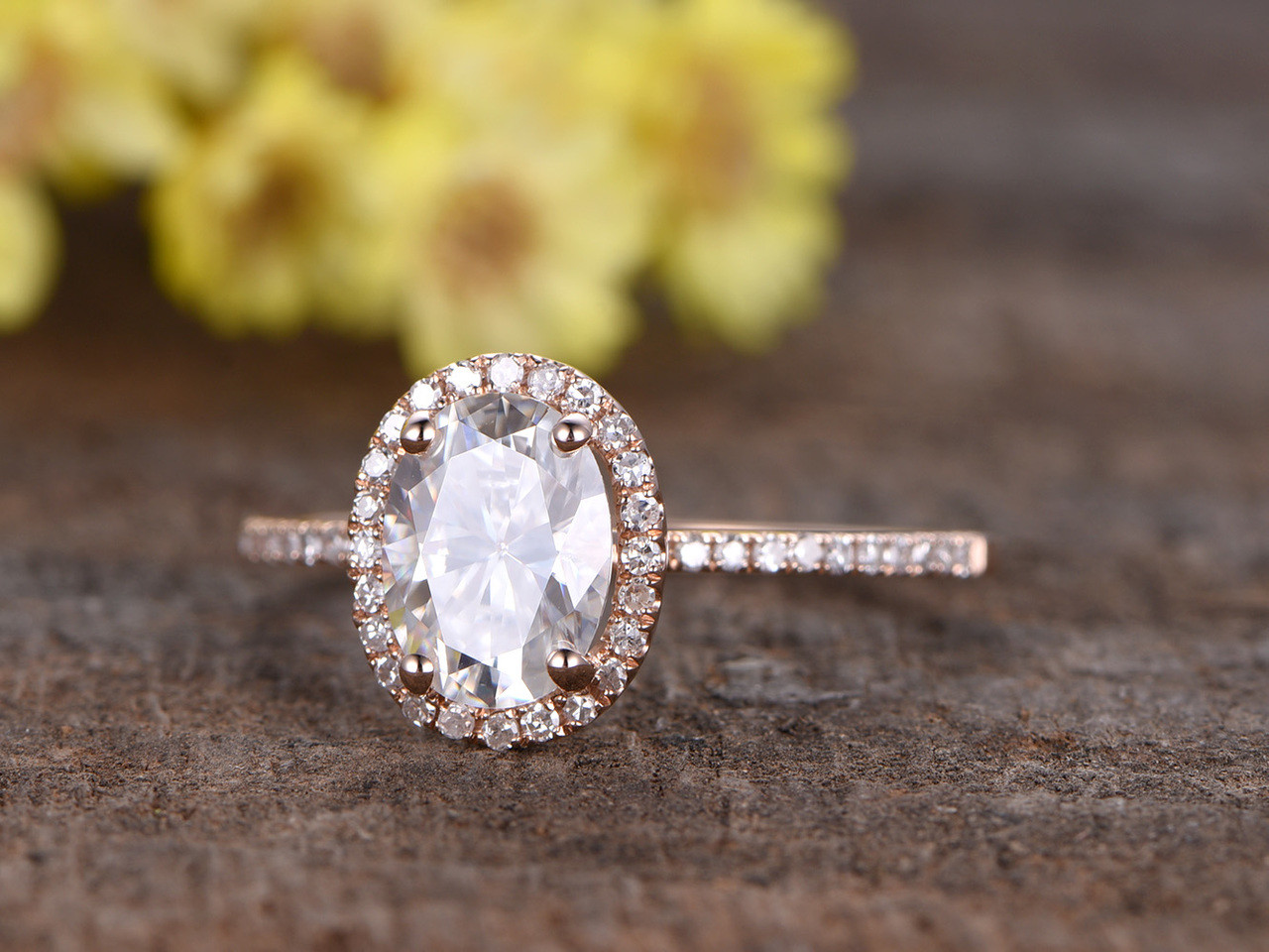 shank halo engagement white stacking rings carat split wedding moissanite diamond gold oval band ring