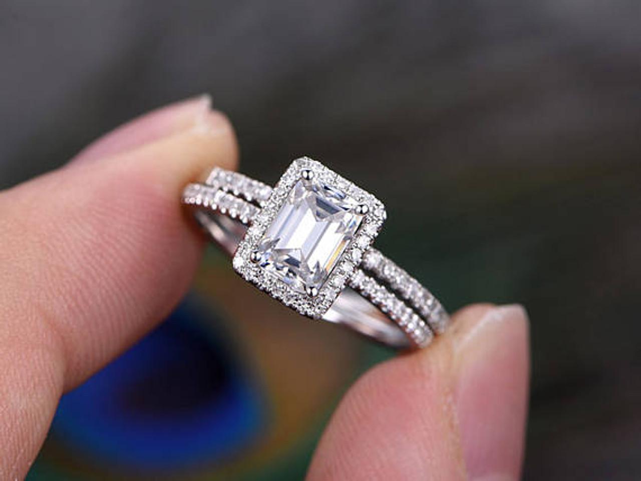 Halo Wedding Ring Set Clic 5x7mm Emerald Cut Moissanite Engagement Diamond White Gold