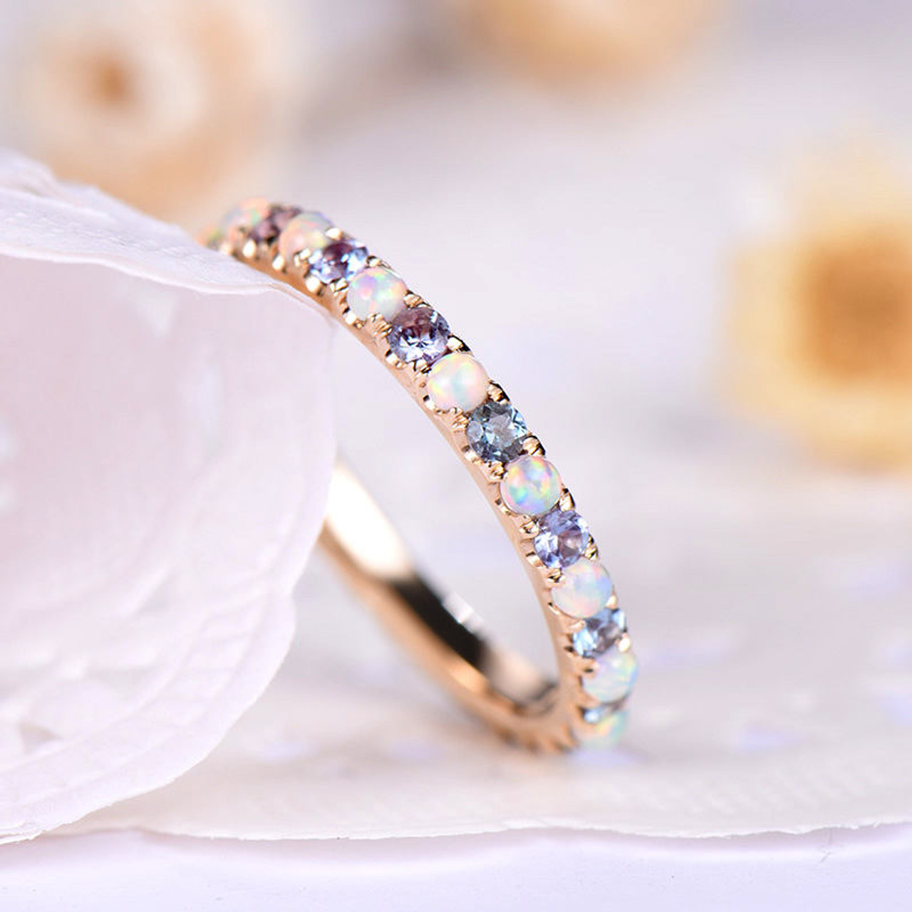 Opal Wedding Band Color Change Alexandrite Engagement Ring 925