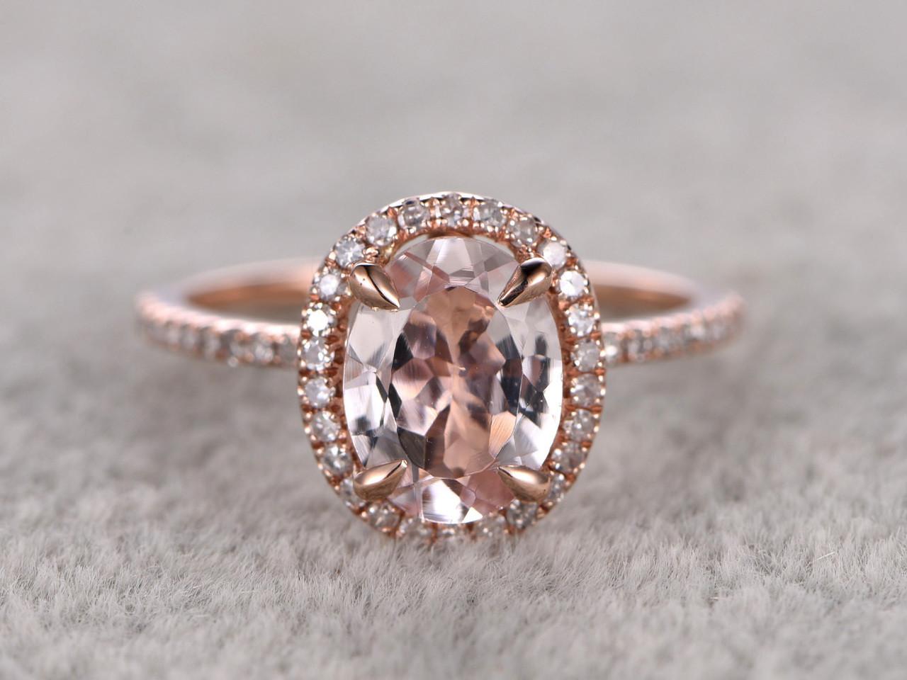 1 2 Carat Oval Morganite Engagement Ring Diamond Promise