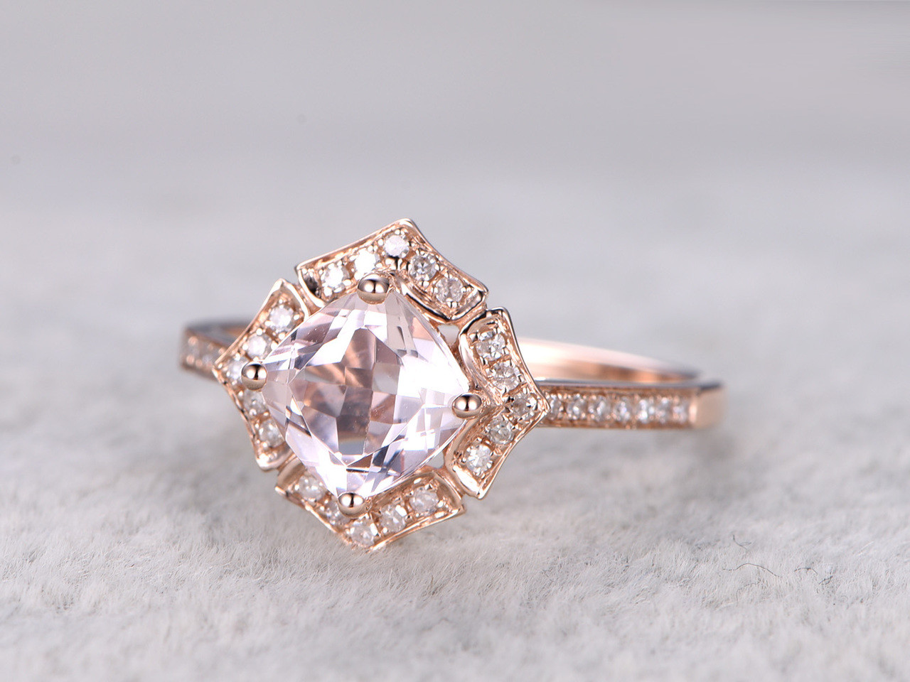 stacking rose engagement diamond morganite bands band gold promise ring halo oval carat