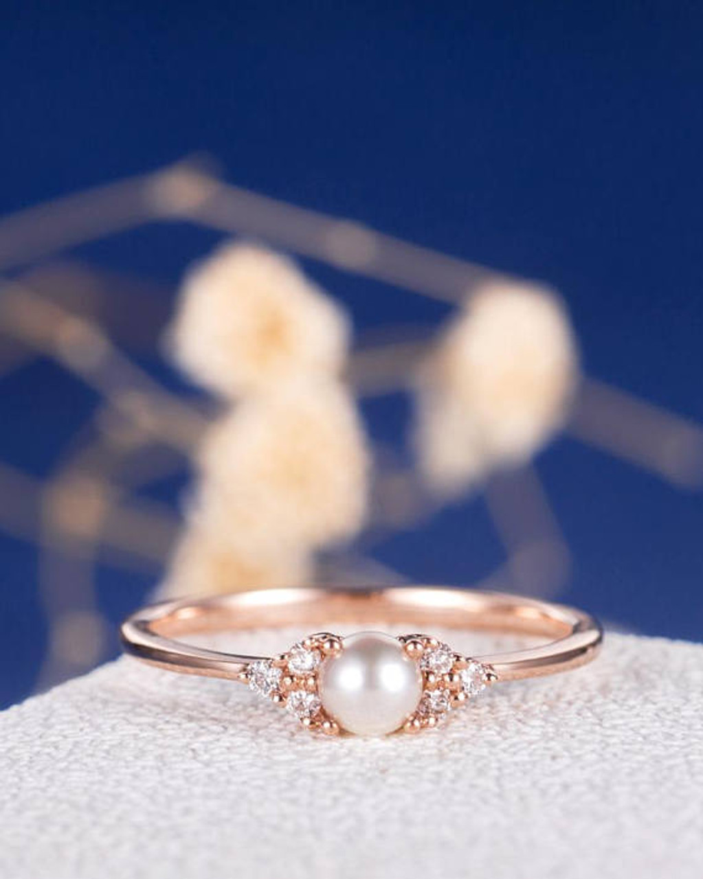 Pearl Engagement Ring Rose Gold Promise Antique Cluster Women Retro ...