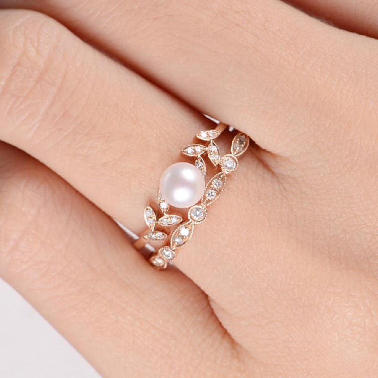 Pearl Rose Gold Engagement Ring Set Flower Bridal Ring Diamond Leave