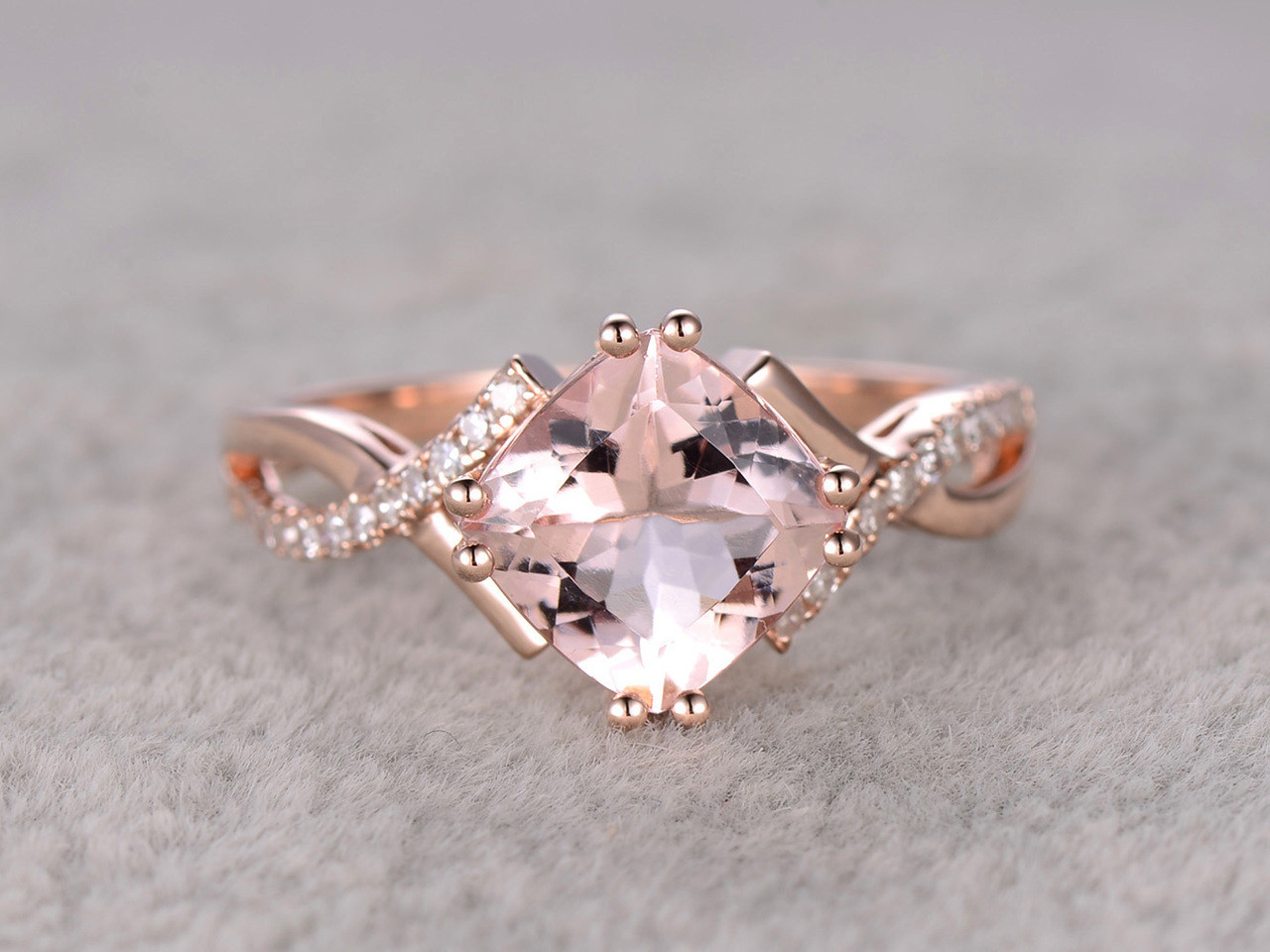 24 Carat Cushion Cut Morganite Engagement Ring Diamond Promise Ring