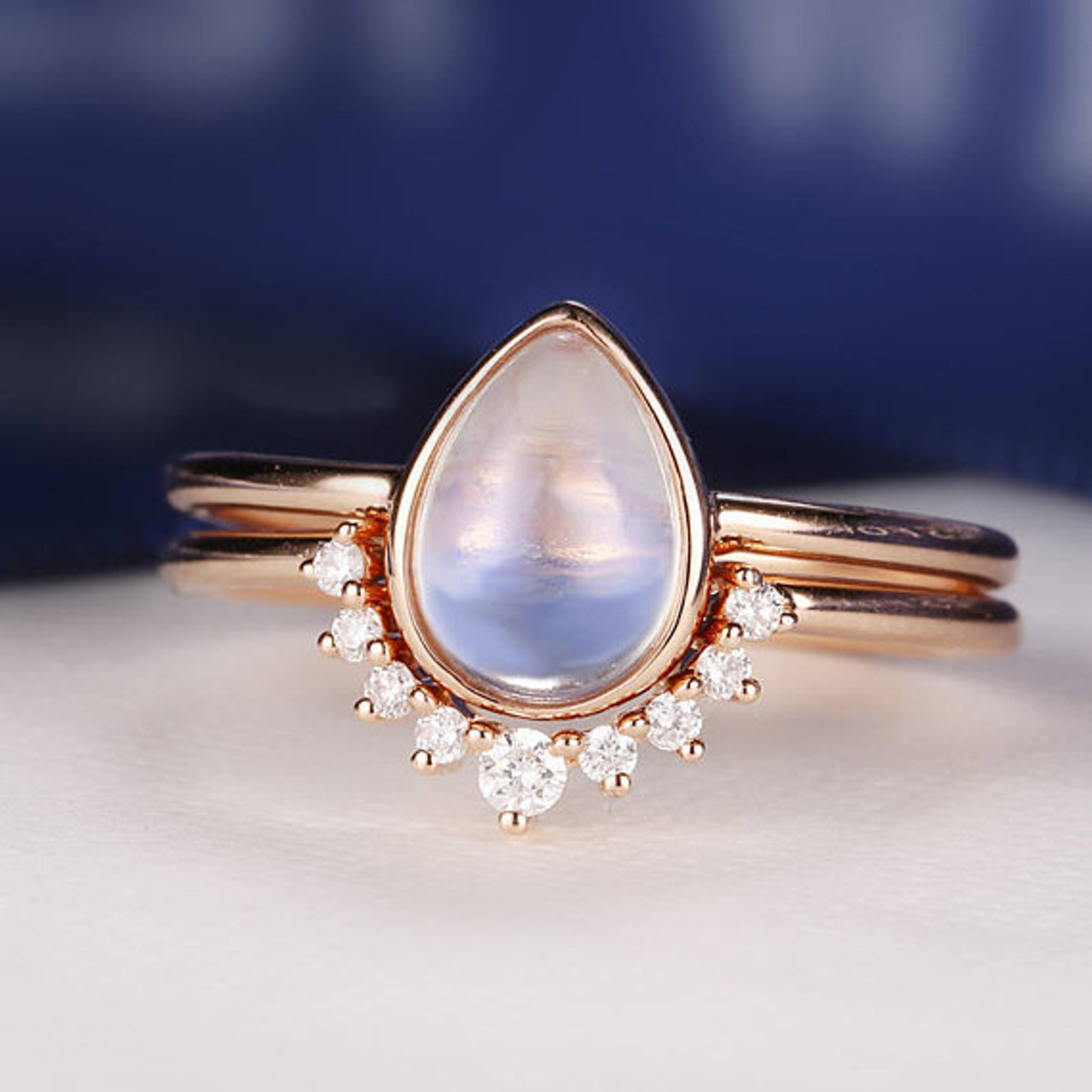 cut il birthstone delicate set stacking gemstone shaped vintage engagement jewelry moonstone rose ring pear bridal drop wedding gold diamond rings
