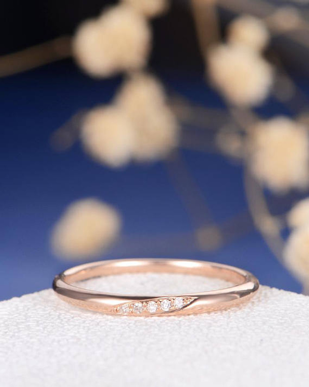 Wedding band diamond wedding ring rose gold tiny anniversary diamond wedding rings junglespirit Images