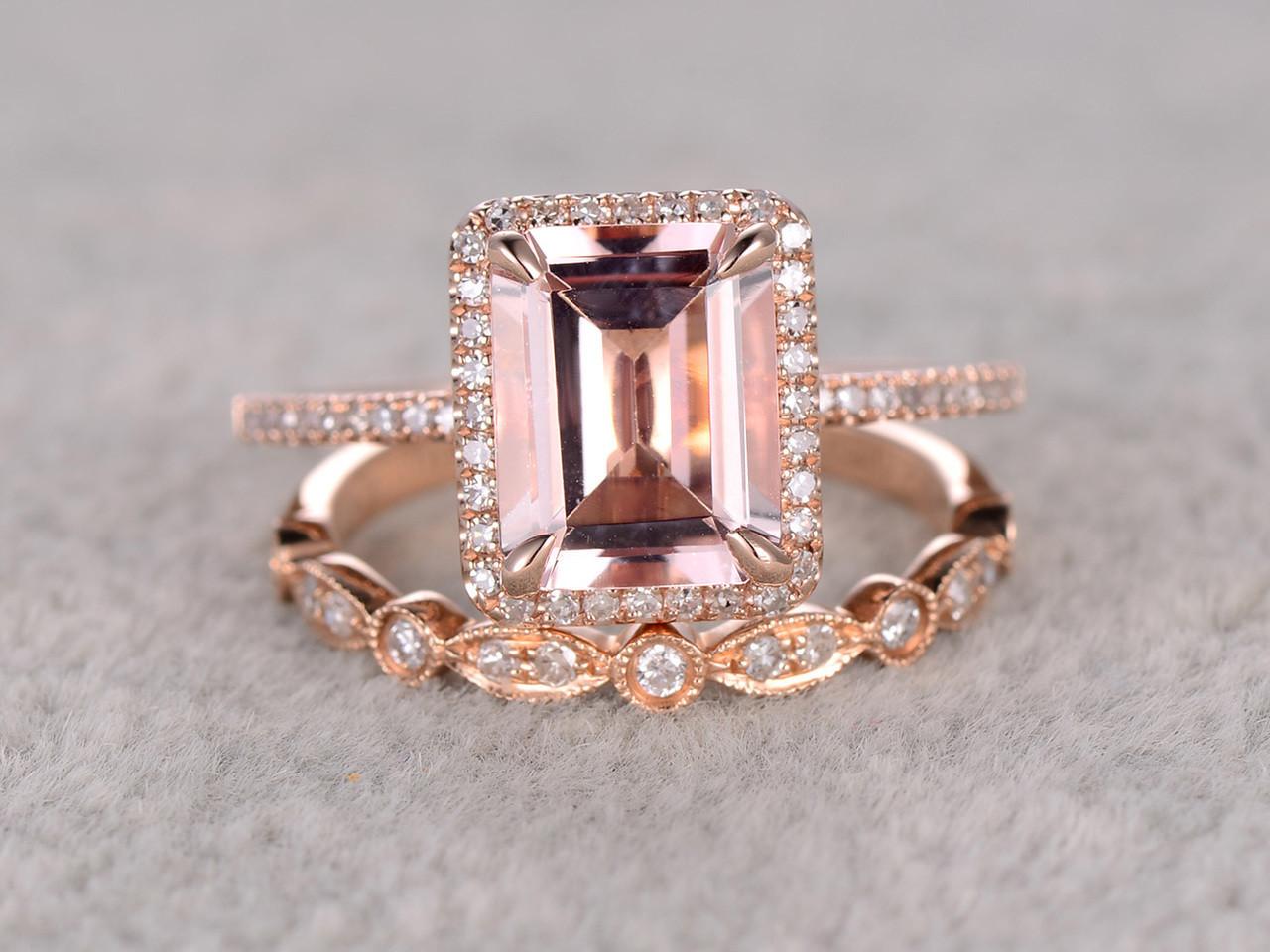 25 to 3 Carat Emerald Cut Morganite Engagement Ring Set Diamond
