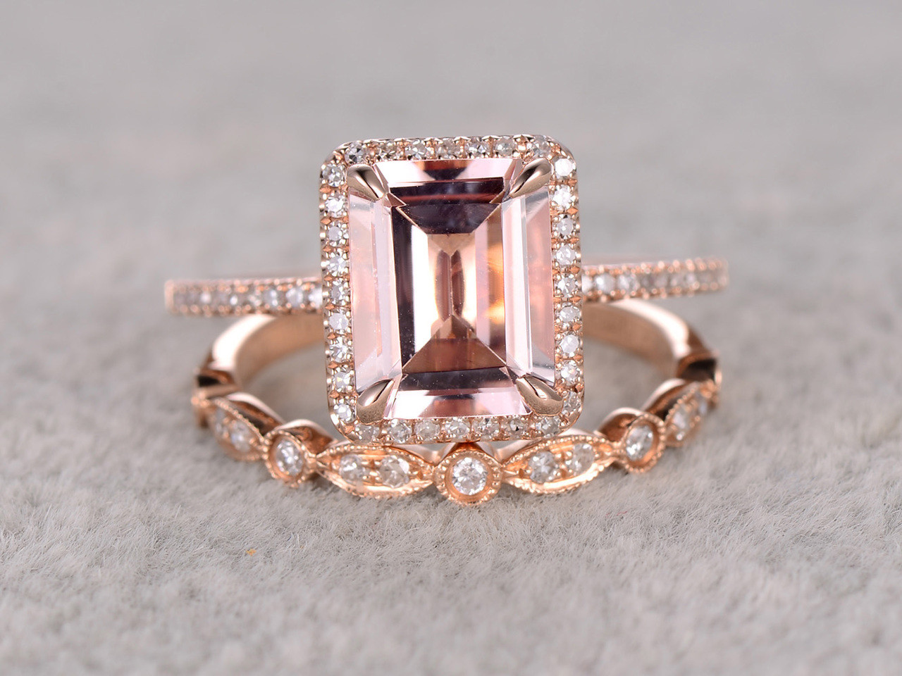 2.5 To 3 Carat Emerald Cut Morganite Engagement Ring Set Diamond Bridal Ring  14k Rose Gold