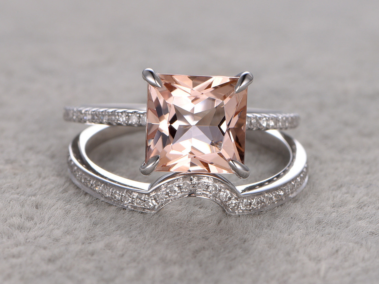 27 Carat Princess Cut Morganite Wedding Set Diamond Bridal Ring 14k White Gold Plain Edge Curved