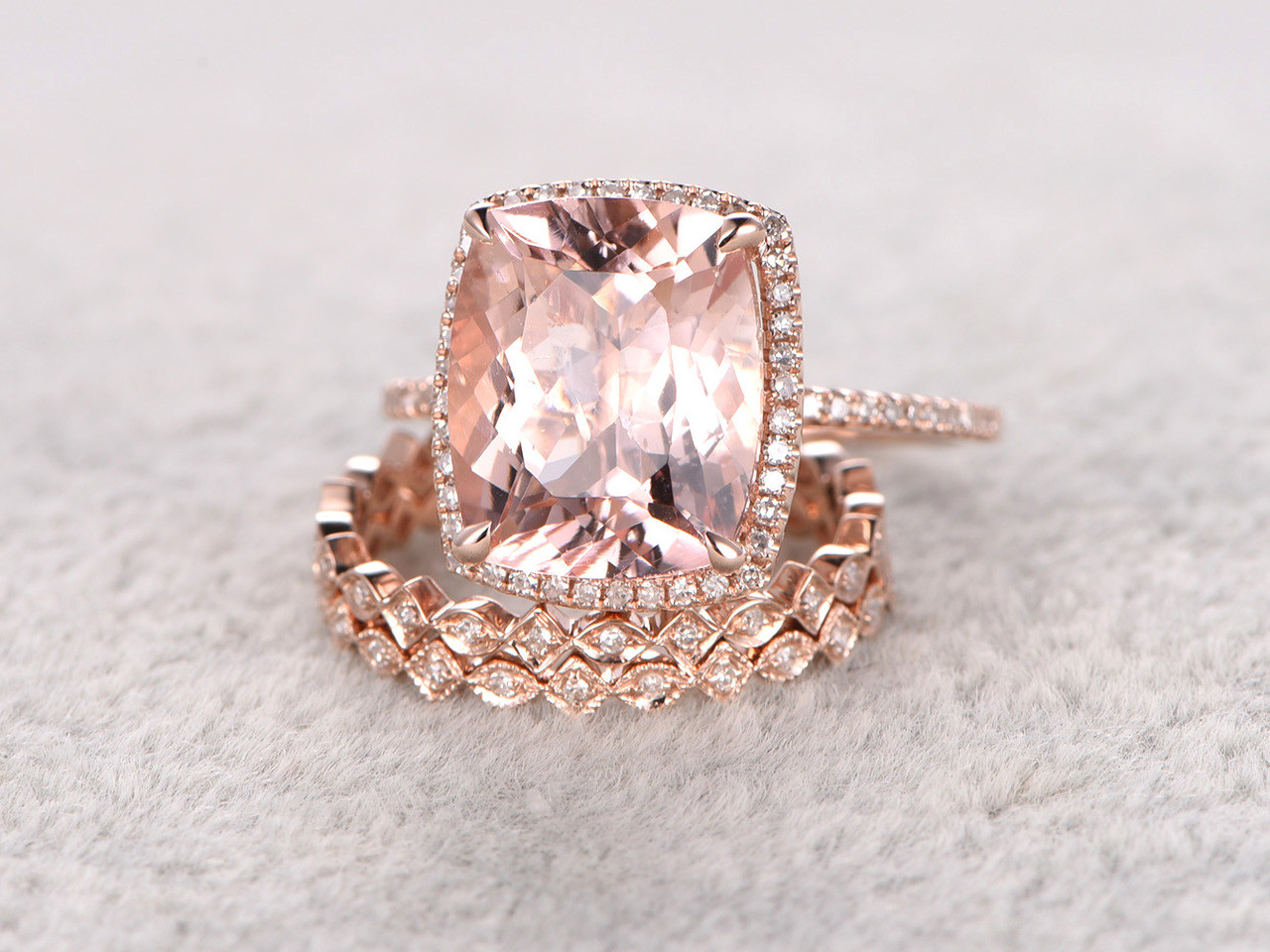 5 Carat Cushion Cut Morganite Wedding Set Diamond Bridal Ring 14k