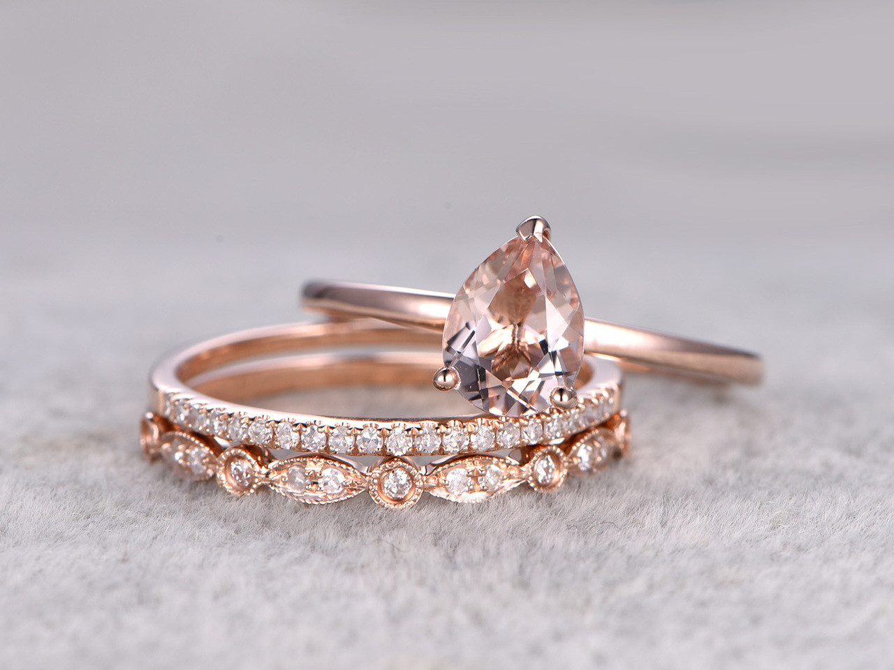 3pcs pear shaped solitaire morganite wedding set antique diamond bridal ring 14k rose gold art deco - Morganite Wedding Ring