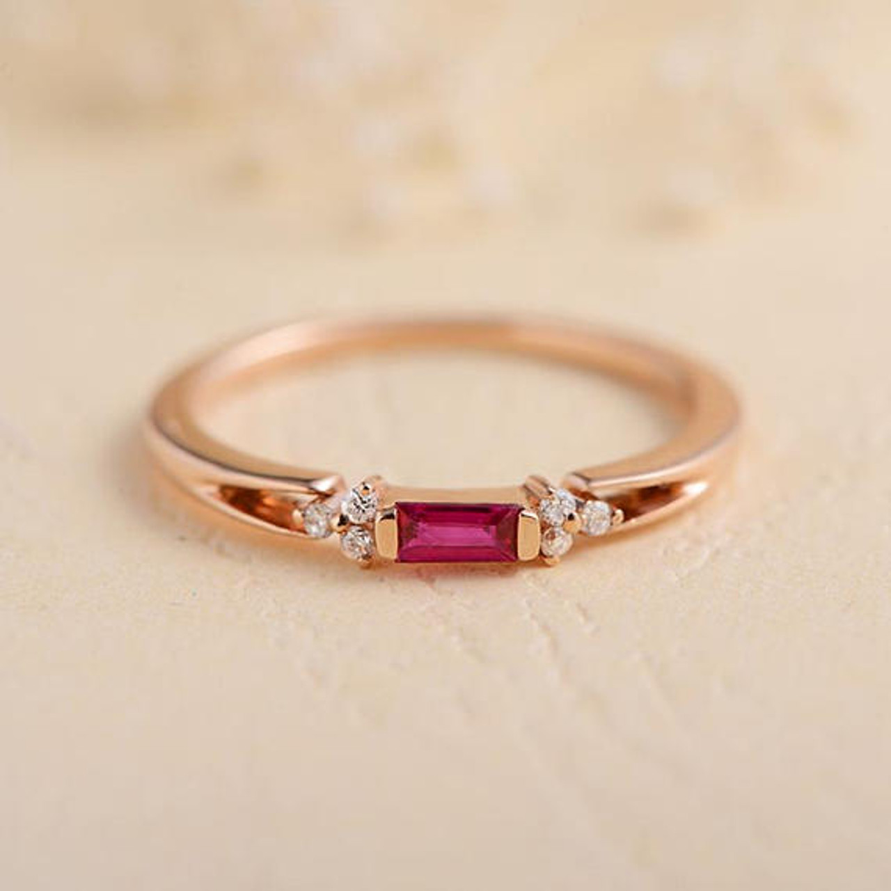 engagement set vintage natural rose bands ring bezel women red wedding rings solid antique ruby gold item