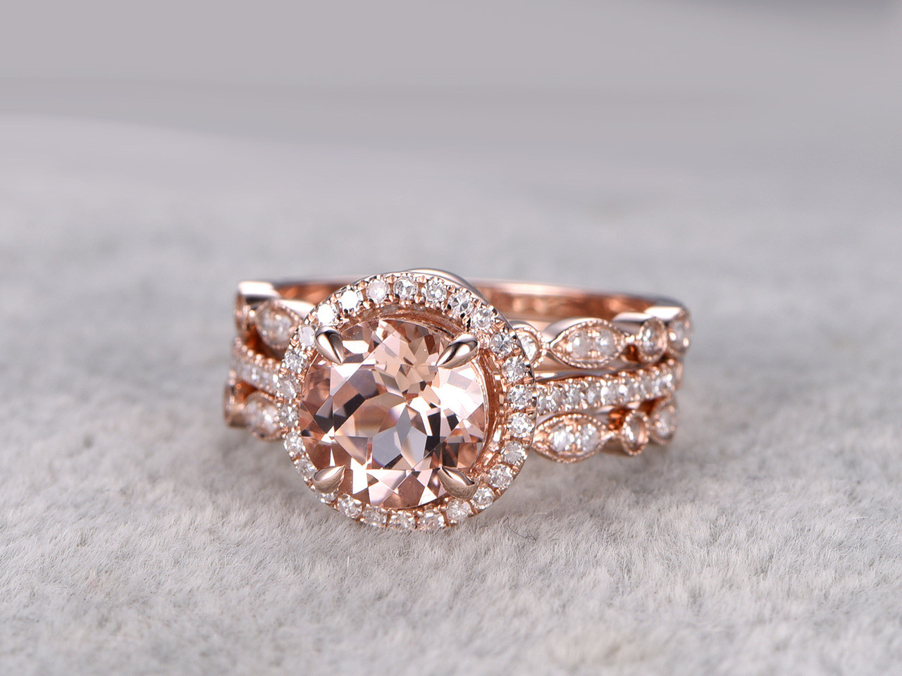 Merveilleux 3pcs Round Morganite Wedding Set Curved Diamond Bridal Ring 14k Rose Gold  Halo Art Deco Antique