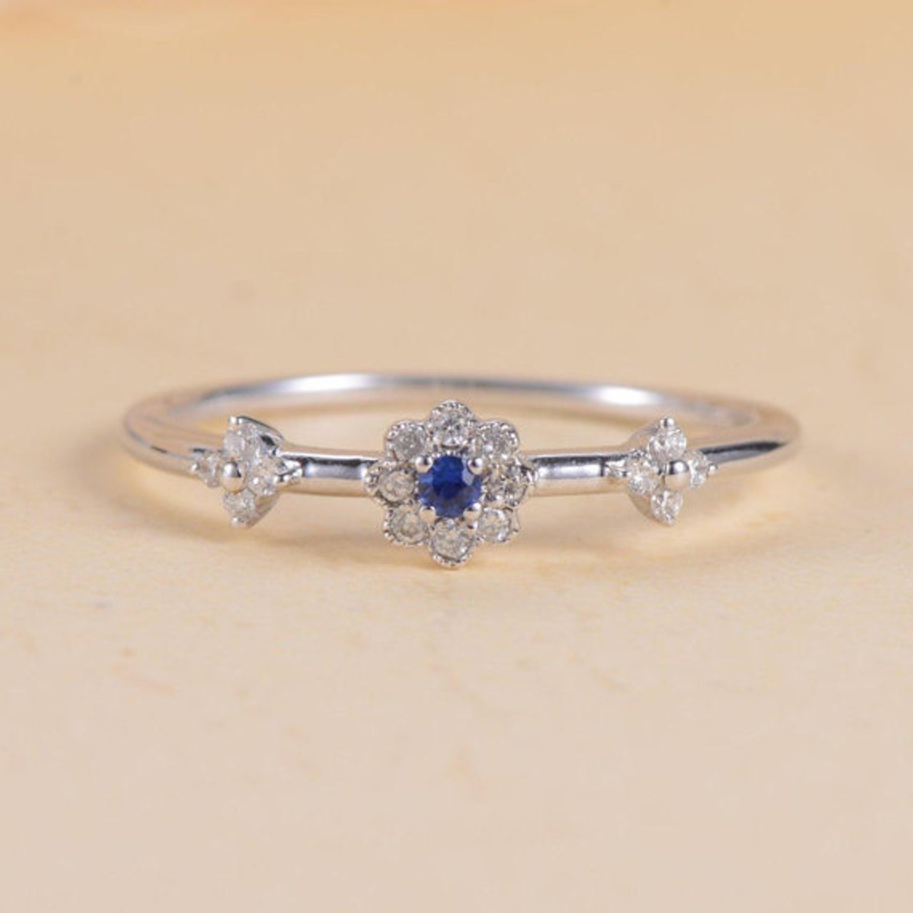 Blue Sapphire Ring Halo Antique Diamond Flower White Gold Engagement