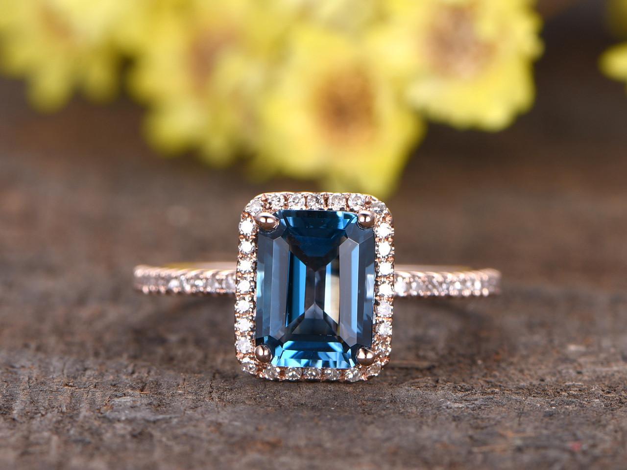 New 1.4ct Emerald Cut London Blue Topaz Engagement Ring With Diamond  OQ46