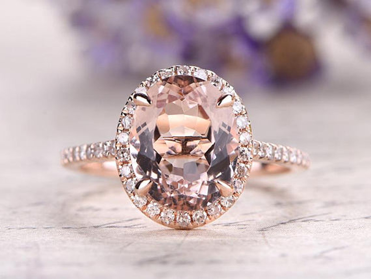 Oval cut pink morganite engagement ringsolid 14k rose gold wedding oval cut pink morganite engagement ringsolid 14k rose gold wedding ringdiamond promise junglespirit Choice Image