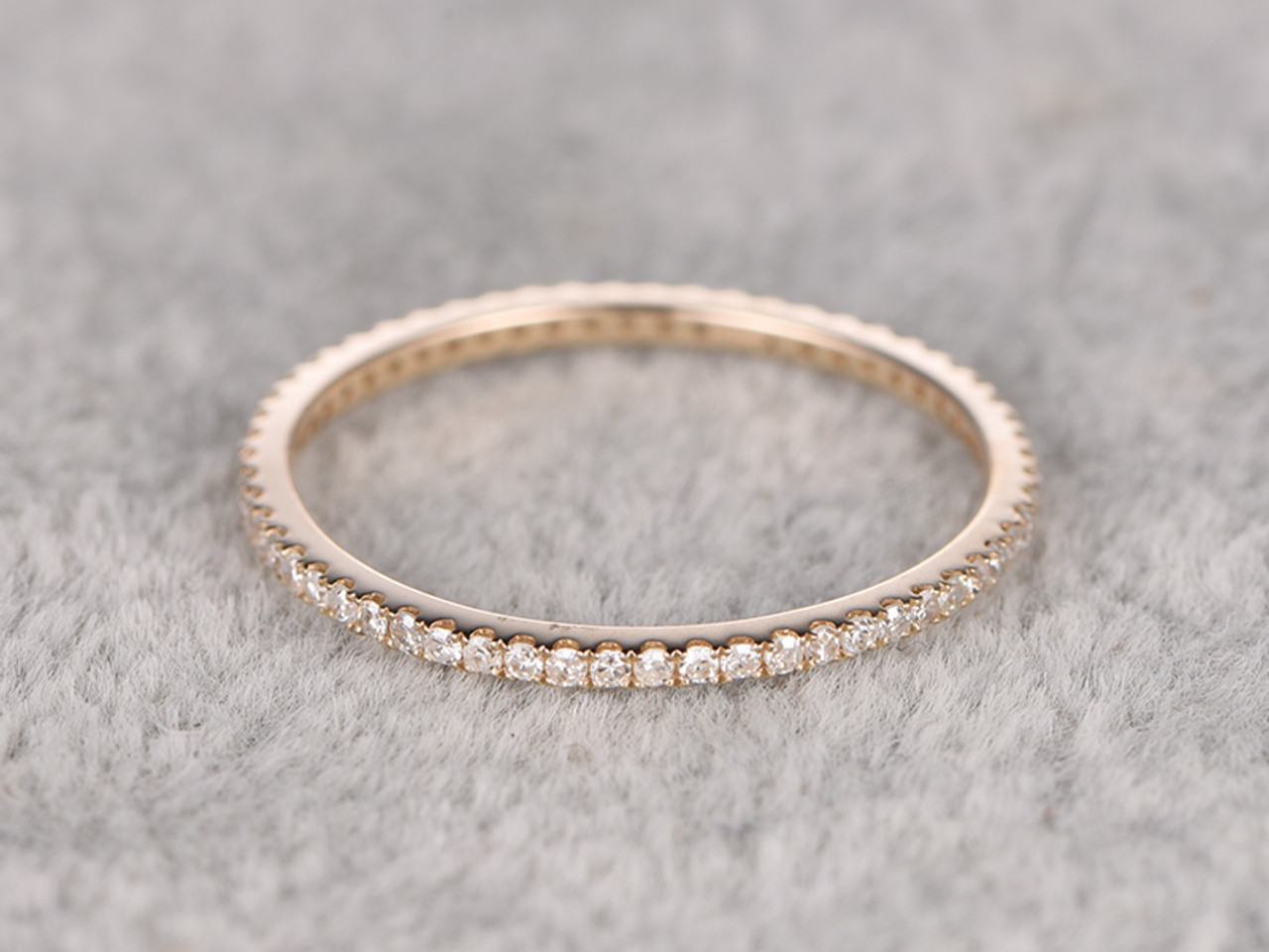Diamond Wedding Rings For Her 14k Yellow Gold Thin Pave Full