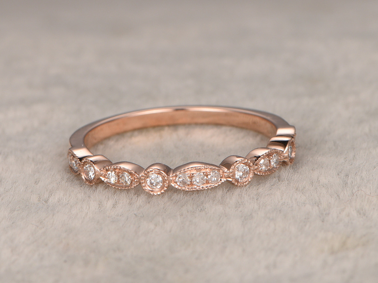 Diamond Wedding Rings For Her 14k Rose Gold Antique Center 3 Stones Art  Deco Half Eternity