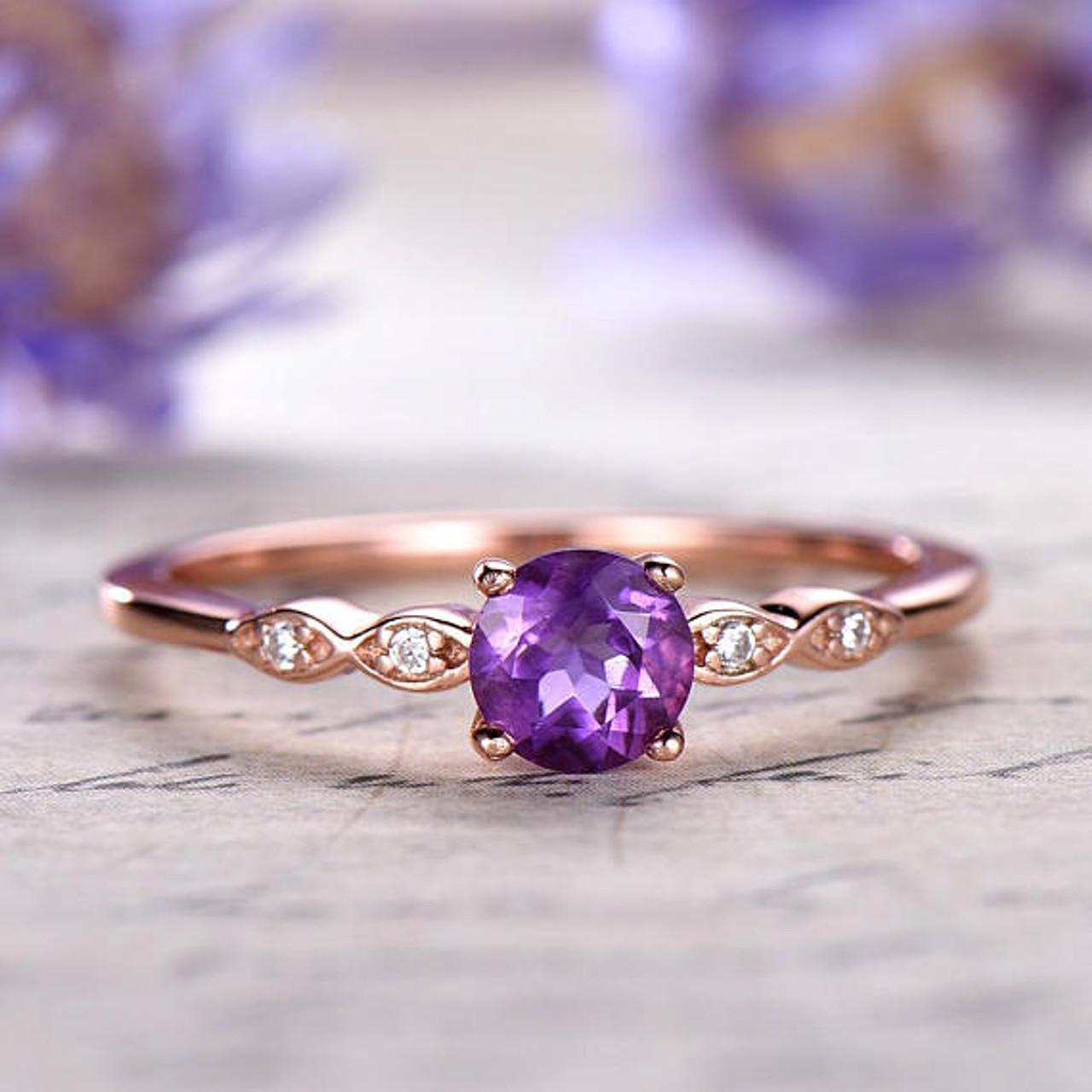 Amethyst engagement ring antique Diamond February birthstone 14k 18k