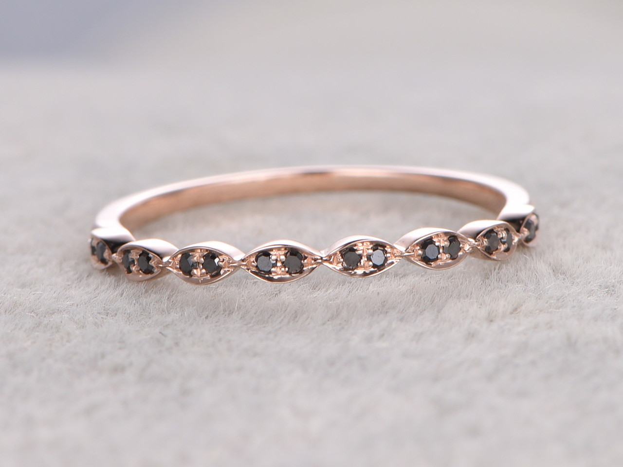 Black Diamond Wedding Rings 14k Rose Gold Antique Art Deco Half ... Black Diamond Wedding Band