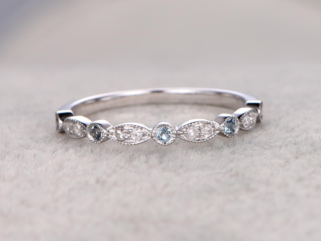 Blue Topaz and Diamond Wedding Rings 14k White Gold Antique Art Deco