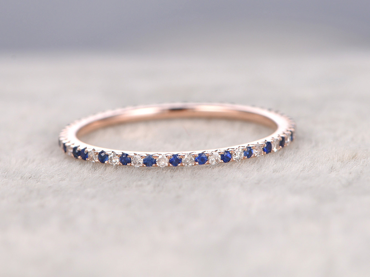 Sapphire and Diamond Wedding Rings 14k Rose Gold Thin Pave Half