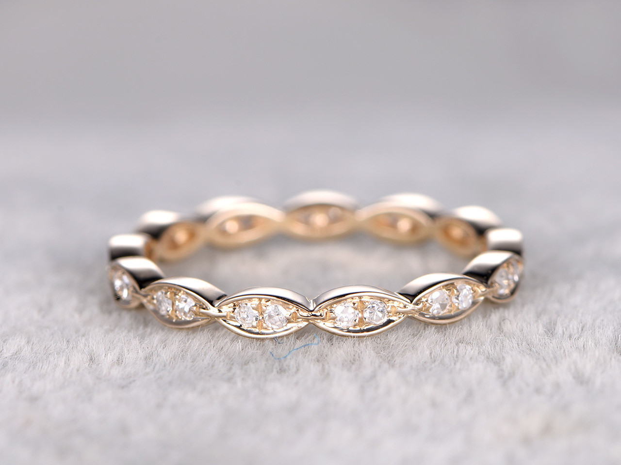 Round Diamond Wedding Ring 14k Yellow Gold Full Eternity Band