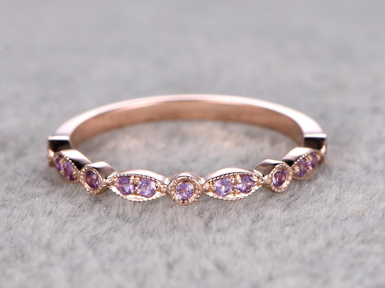 Amethyst Wedding Ring 14k Rose Gold Antique Art Deco Half Eternity