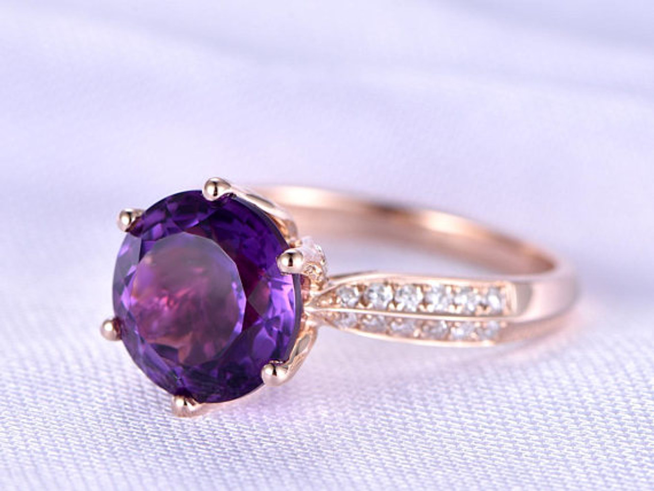 Big Amethyst Engagement Ring Diamond Ring Solid 14k Rose Gold Double