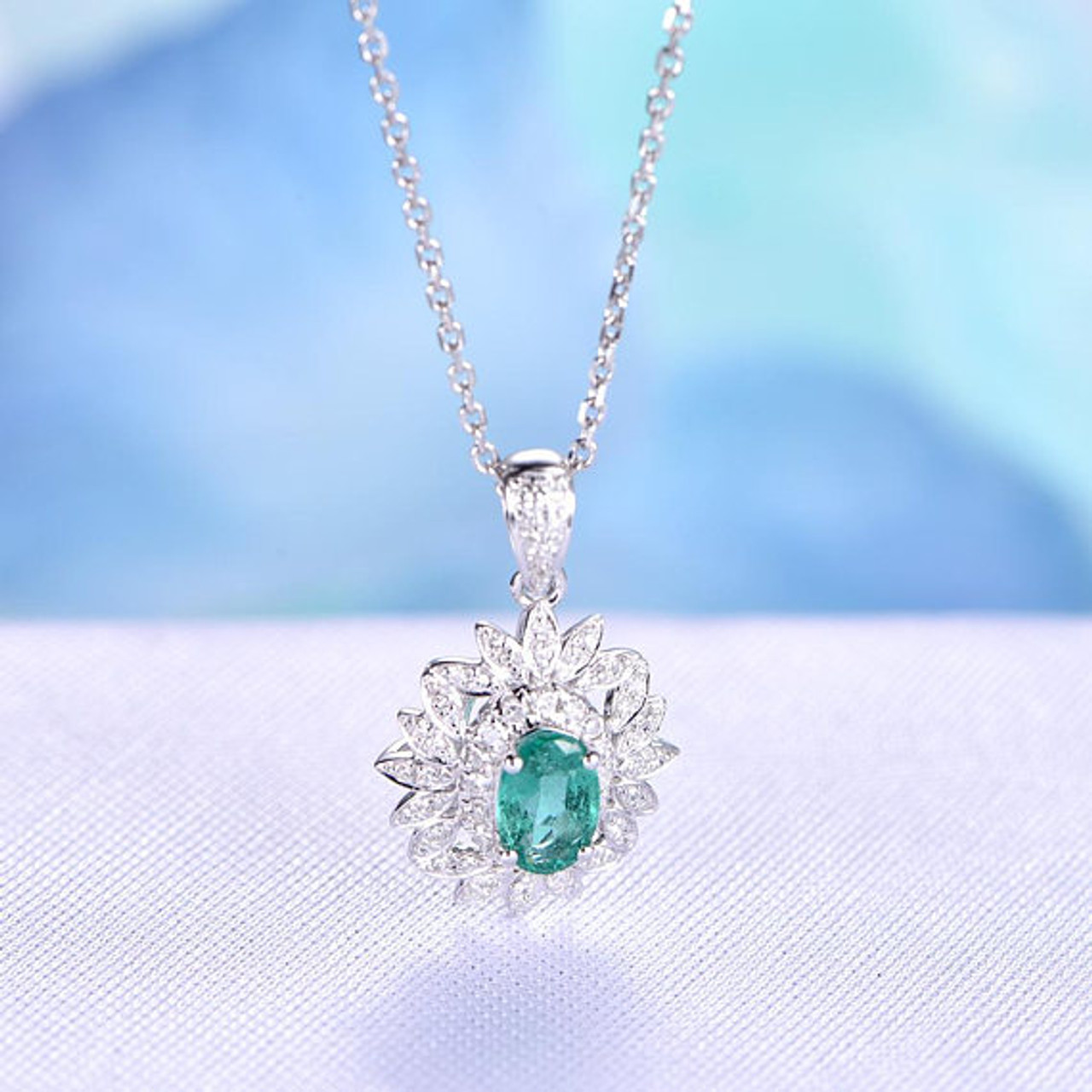 wg diamond flower ball emerald sphere chain stand grants close jewelry product herringbone pendant