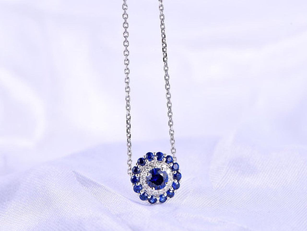 Blue sapphire necklace white gold diamond pendant natural sapphire sapphire rings aloadofball Gallery
