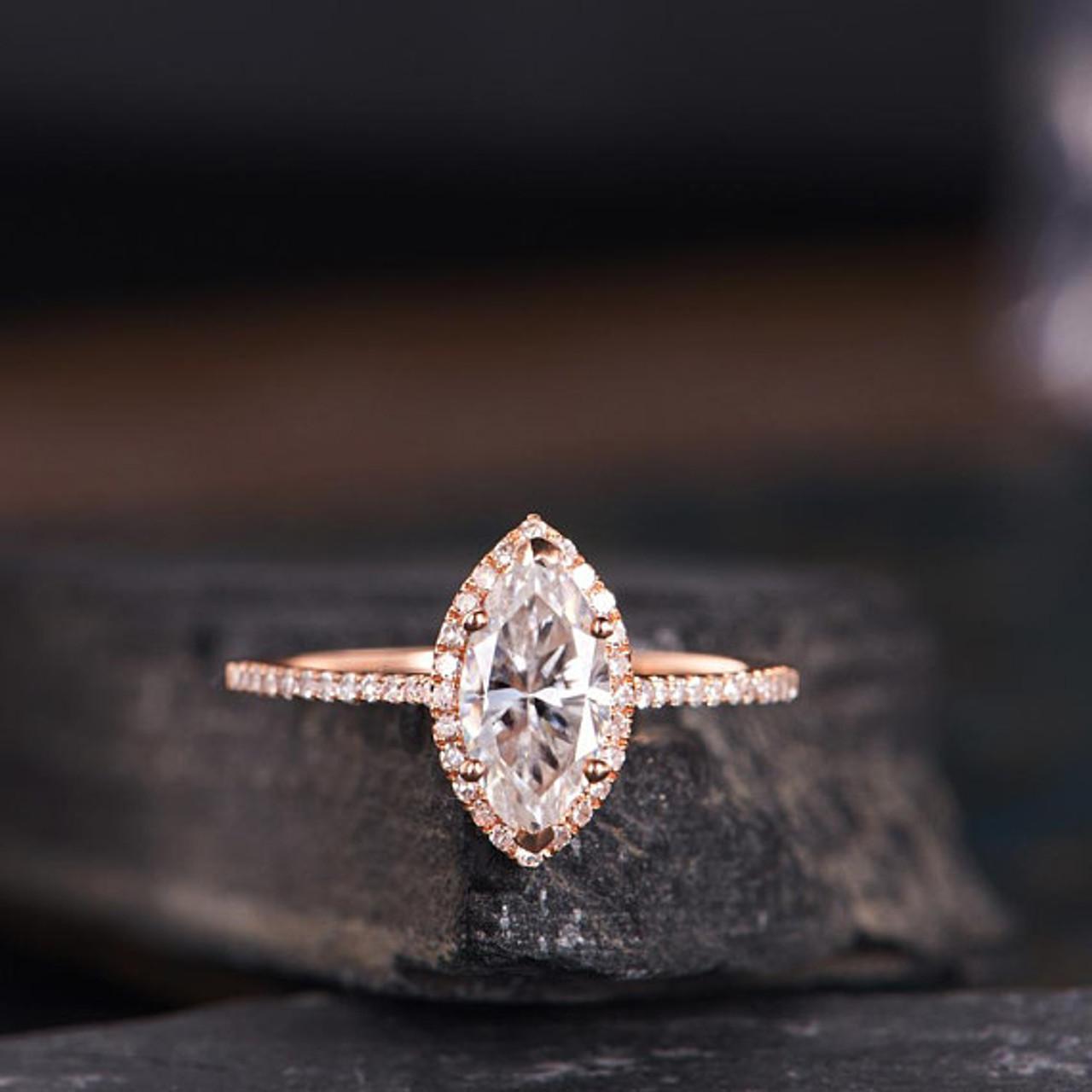 Rose Gold Moissanite Engagement Ring Marquise Shaped Bridal Wedding