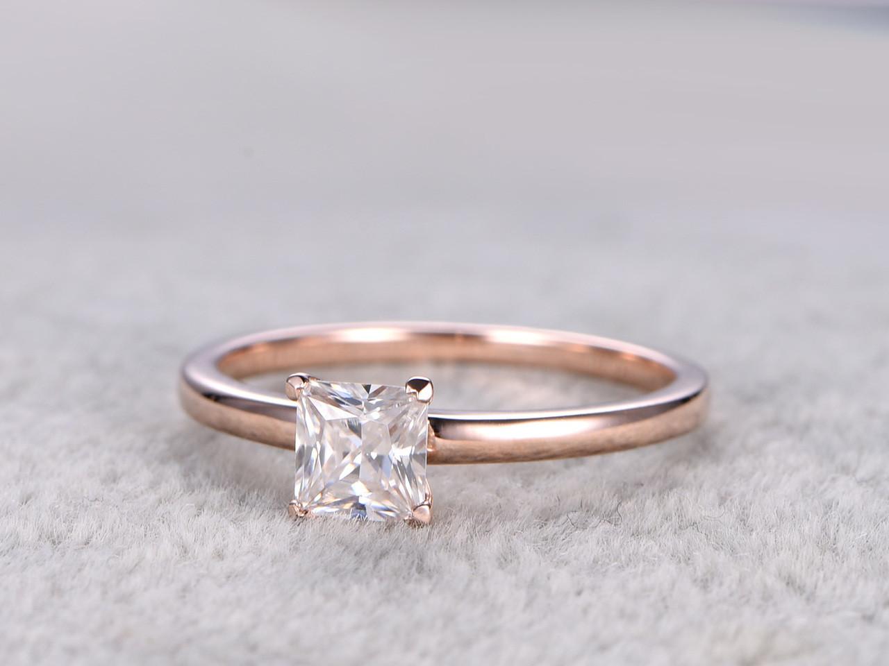 Moissanite princess cut engagement ring