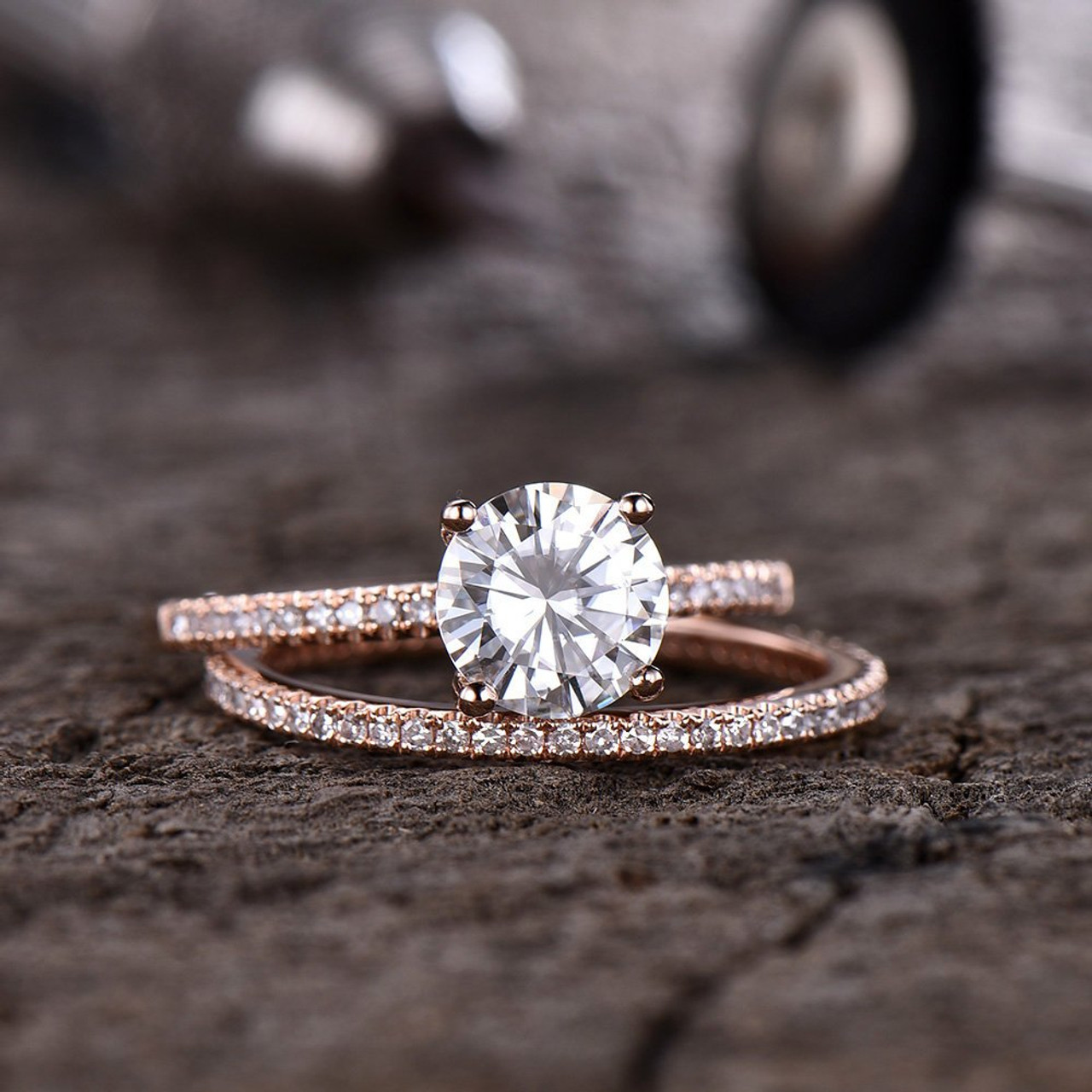 Forever One Moissanite Engagement Ring Full Eternity Diamond Wedding Band Bridal Set 7mm Round Solitaire Ring 14K Rose Gold D-E-F Colorless