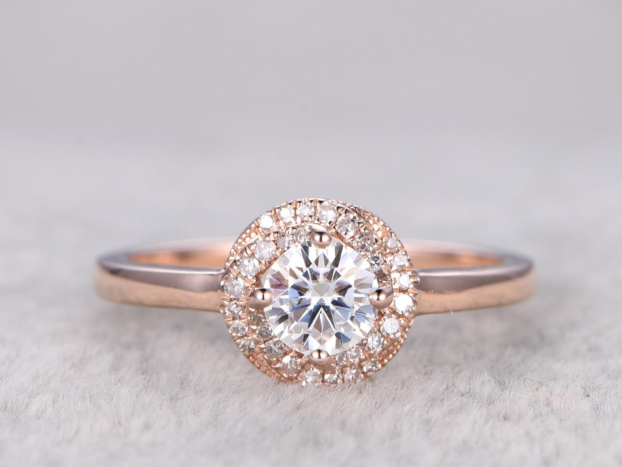 Moissanite Diamond Engagement Rings Rose Gold 14k 18k 0 5 Carat Stone Halo Flower Stacking Promise Ring