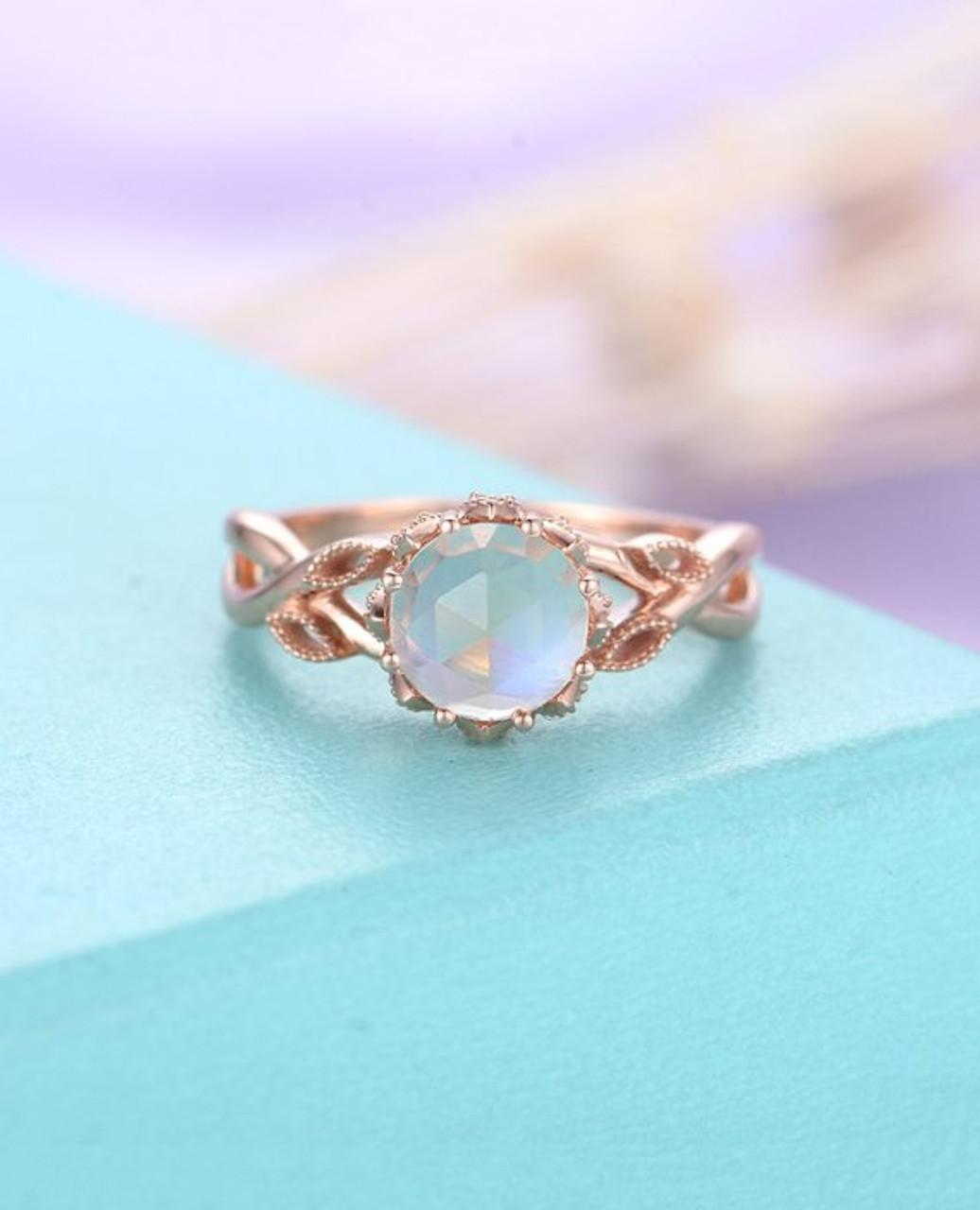 Milgrain Leaf Moonstone engagement ring Rose gold