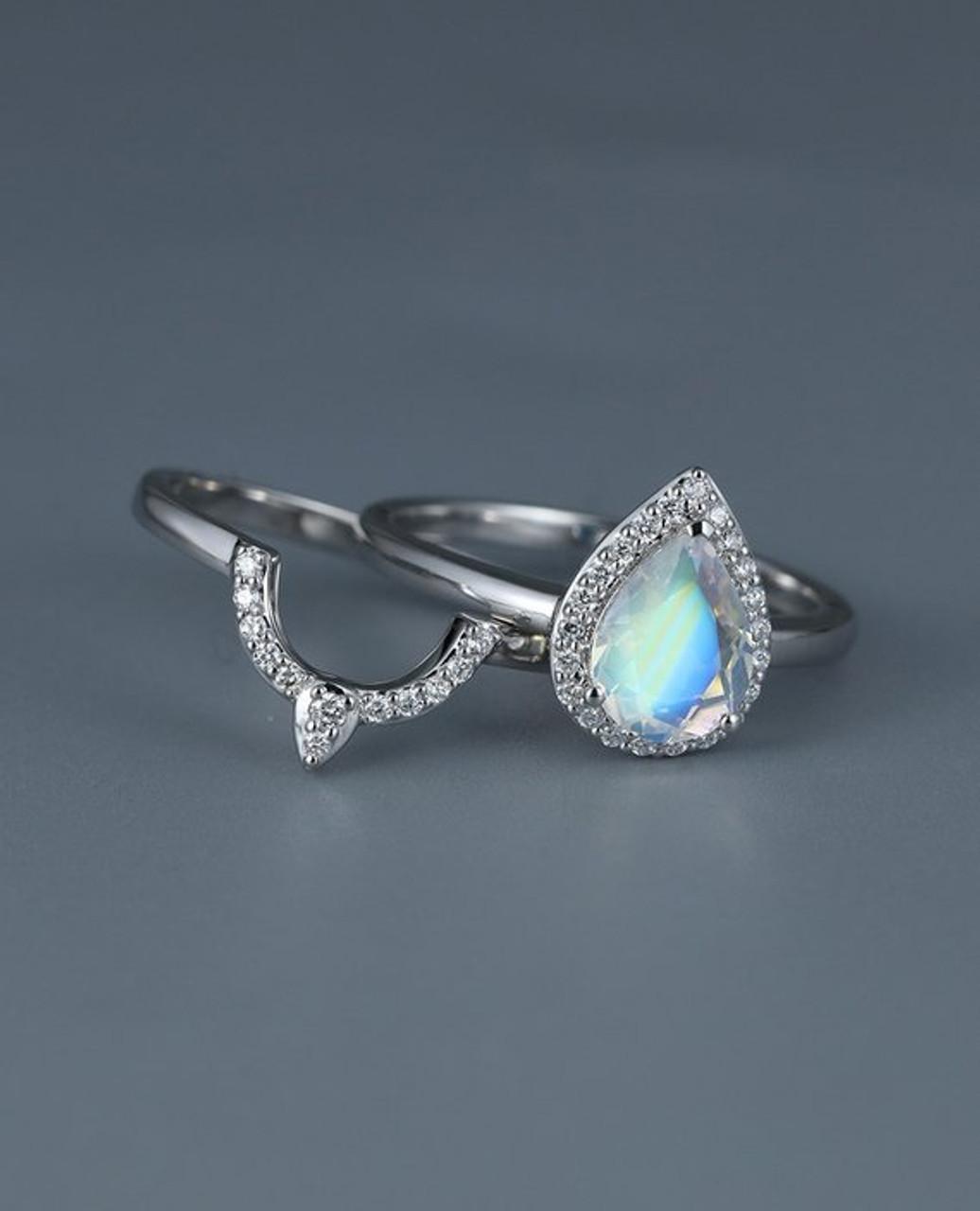 Pear Shaped Moonstone Bridal set