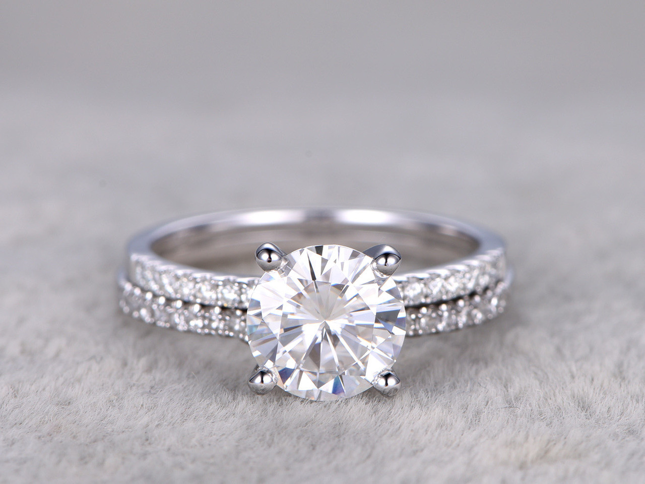 2 Carat Moissanite Engagement Ring Set Diamond Wedding Band White