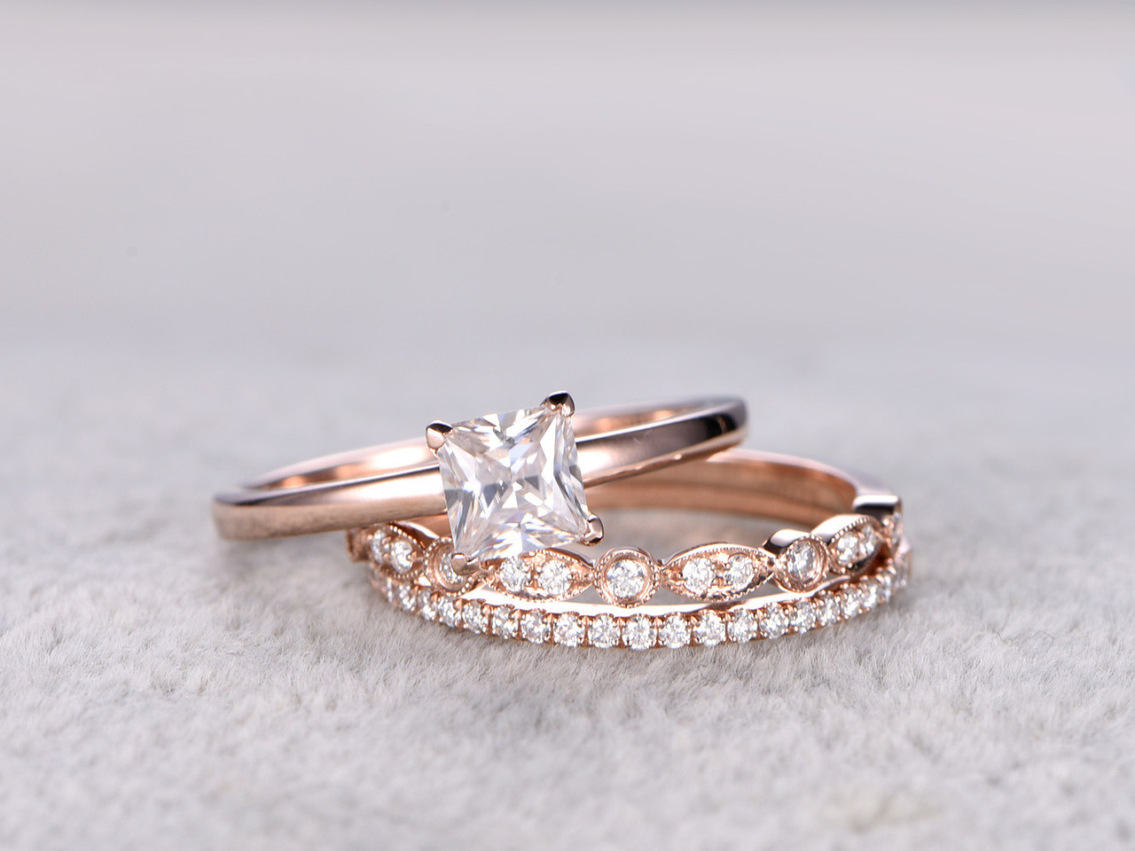 Moissanite engagement ring set 3pcs pricess cut moissanite bridal ...