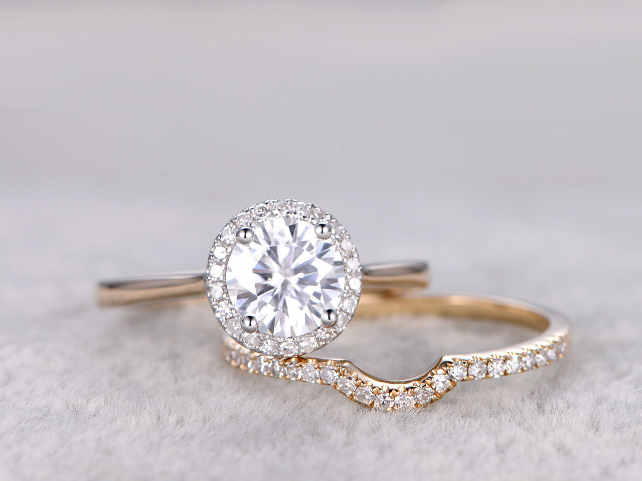 engagement wedding round gold white ring rings floral moissanite vintage fb diamond media scalloped