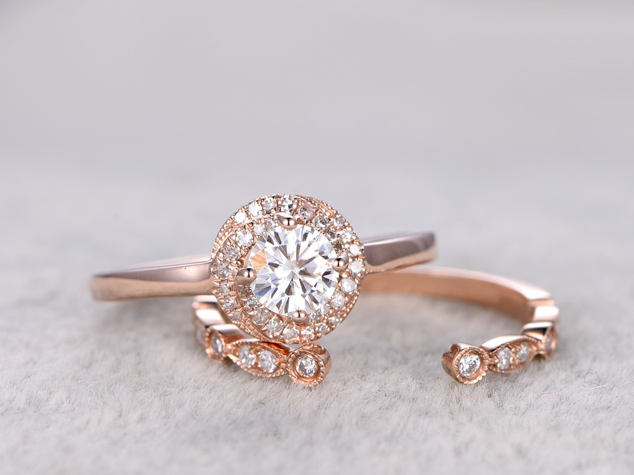 Moissanite Engagement Ring Set Diamond Wedding Bands Rose Gold Open Gap Art  Deco Matching
