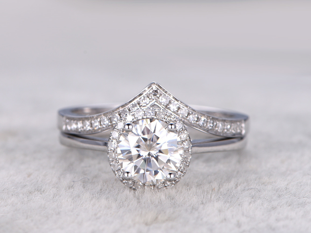 Moissanite engagement ring set Diamond Wedding Bands White Gold