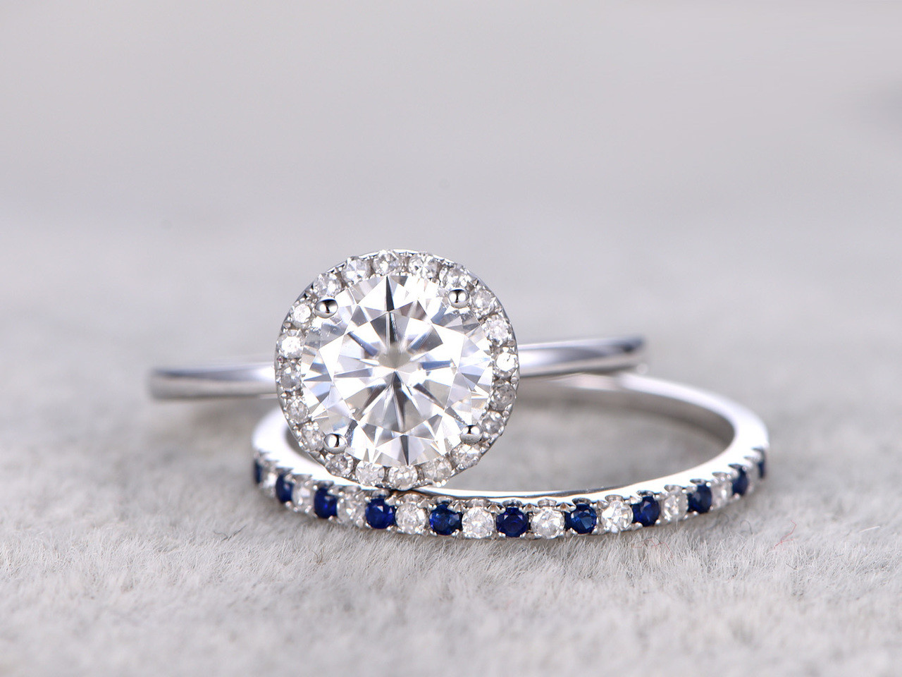 Bon Moissanite Engagement Ring Set Diamond And Sapphire Wedding Band White Gold  Pave Matching 14K/18K