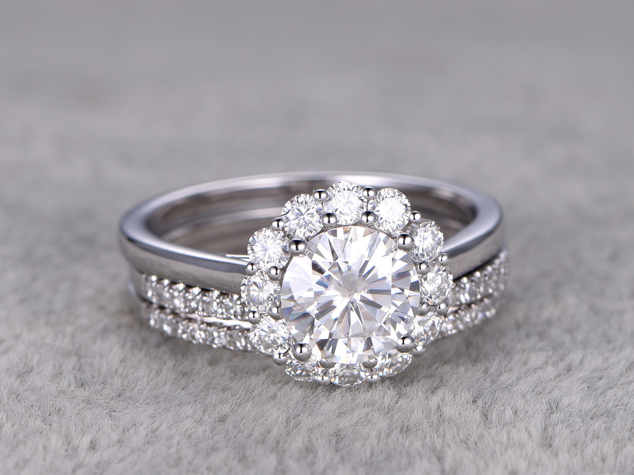 Flower Moissanite Wedding Ring Set Diamond Curved Matching Band
