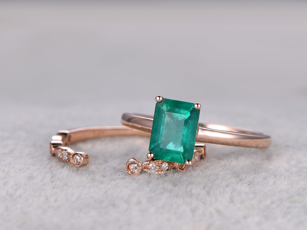 reco cushion band emerald ring matching diamond gold set fullxfull jewellery gemstone rings engagement bridal cut treated il rose wedding