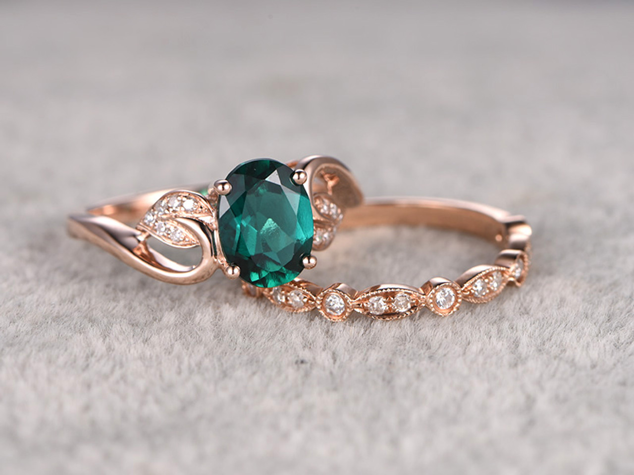 Emerald Engagement Ring Set emerald stone engagement rings