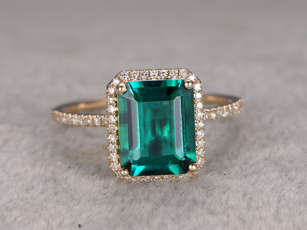 gold semi emerald white ring halo mount diamond engagement