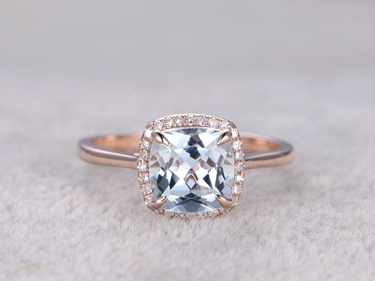 mount engagement halo rose ring gold vintage diamond cushion semi cut rings