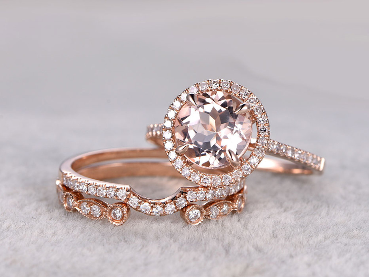 3pcs Morganite Rose Gold Wedding Set Diamond Eternity Ring 8mm Round
